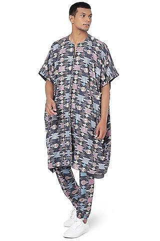 Navy Blue Printed Pant Set by Payal Singhal Men