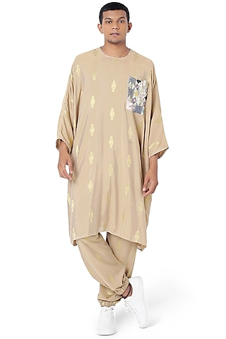 Gold Printed Pant Set by Payal Singhal Men