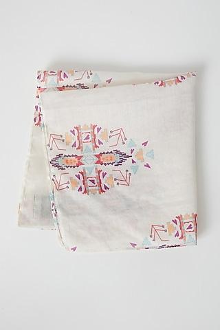 Grey Ikat Printed Silk Pocket Square by Payal Singhal Men