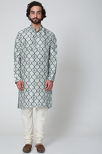 Powder Blue & Off White Printed Kurta Set by Payal Singhal Men