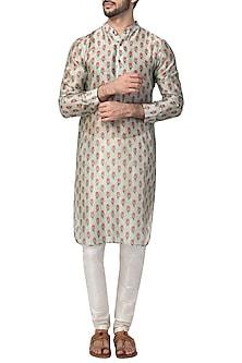 Grey Coral Printed Kurta with Churidaar Pants by Pranay Baidya Men