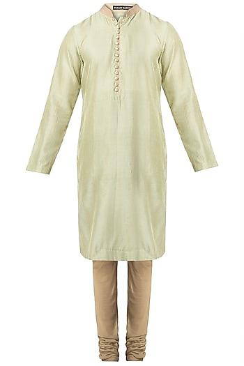 Mint Green Pintuck Kurta with Churidaar Pants by Pranay Baidya Men
