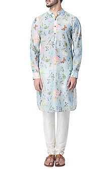 Blue Butterfly Printed Kurta with Churidaar Pants by Pranay Baidya Men-BEST SELLERS