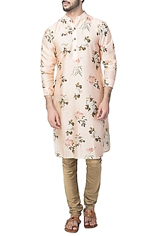 Peach Floral Printed Kurta with Churidaar Pants by Pranay Baidya Men