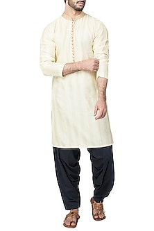 Lemon Yellow Kurta with Patiala Pants by Pranay Baidya Men