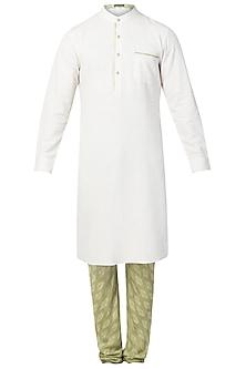 White Kurta with Churidaar Pants by Pranay Baidya Men