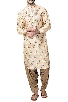 Yellow Stipe Mughal Printed Kurta With Patiala Pants  by Pranay Baidya Men