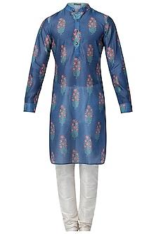 Blue and Red Floral Printed Kurta with Churidaar Pants by Pranay Baidya Men