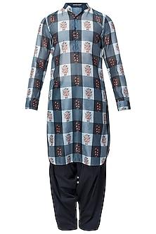 Blue Checks Floral Kurta With Navy Blue Patiala Pants by Pranay Baidya Men