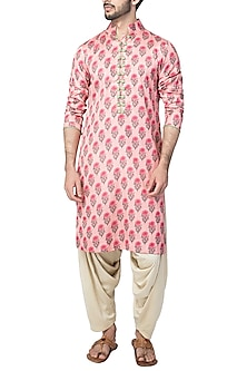 Pink Floral High Collar Double Kurta with Ivory Patiala Pants  by Pranay Baidya Men
