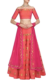 Orange and Gold Applique Work Lehenga Set by Priyal Prakash