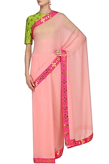 Rose Pink and Gold Applique Work Saree with Lime Blouse by Priyal Prakash