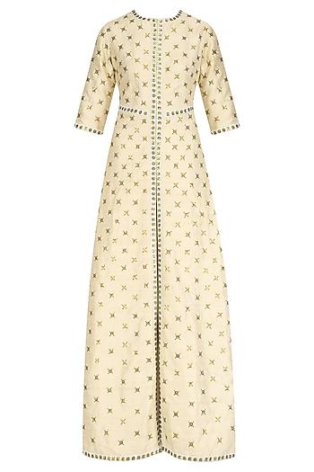Cream Embroidered A Line Jacket with Mint Lehenga Skirt by Priyal Prakash