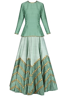 Dusty Mint Embroidered Short Kurta with Pale Mint Lehenga Skirt by Priyal Prakash