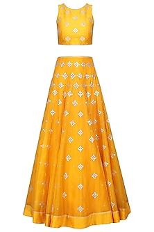Turmeric Yellow Embroidered Lehenga Set by Priyal Prakash