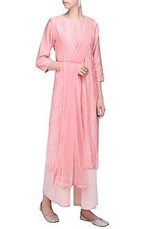 Lily Pink Kurta with Baby Pink Palazzo Pants Set by Priyal Prakash