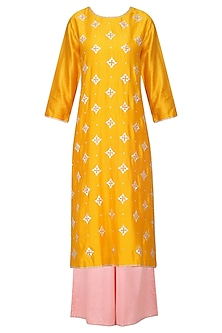 Mango Yellow Kurta with Rose Pink Palazzo Pants Set by Priyal Prakash