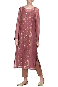 Dark Mauve Embellished Kurta with Pants by Priyal Prakash