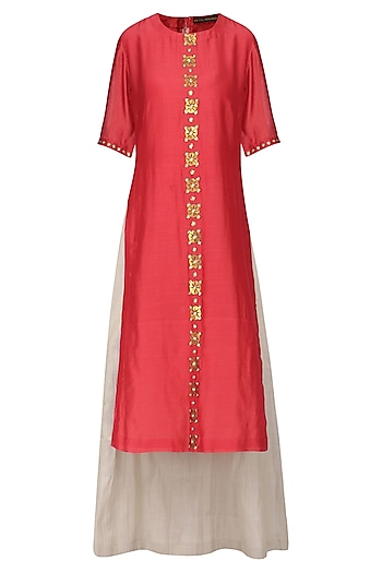Red Embellished Kurta with Light Grey Lehenga Skirt Set by Priyal Prakash