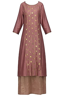 Dark Mauve Embellished Kurta with Lehenga Skirt Set by Priyal Prakash