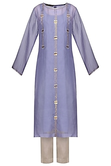 Lavender Embellished Kurta with Light Grey Pants by Priyal Prakash