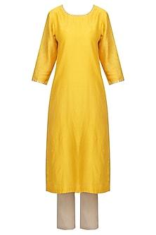 Mango Yellow Embellished Kurta Set by Priyal Prakash