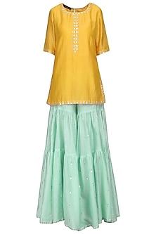 Mango Yellow Embroidered Kurta with Sharara Pants Set by Priyal Prakash