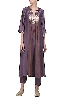 Dusty Violet Embroidered Kurta with Pants by Priyal Prakash