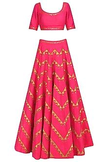 Rouge Pink and Gold Applique Work Lehenga Set by Priyal Prakash