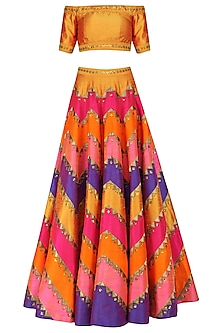 Multicolor Applique Work Lehenga with Yellow Off Shoulder Blouse by Priyal Prakash
