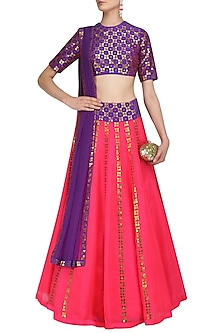 Hot Pink and Purple Applique Work Lehenga Set by Priyal Prakash