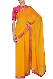 Mango Yellow Saree and Hot Pink Embroidered Blouse Set by Priyal Prakash