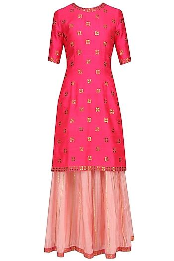 Hot Pink Applique Work Kurta with Rose Pink Crinkled Sharara by Priyal Prakash