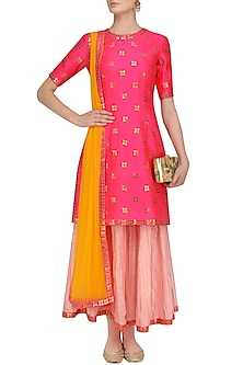 Hot Pink Applique Work Kurta with Rose Pink Crinkled Sharara by Priyal Prakash