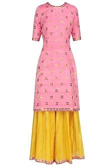 Rose Pink Applique Work Kurta and Crinkled Sharara Set by Priyal Prakash