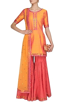 Orange Applique Work Kurta and Hot Pink Gharara Set by Priyal Prakash