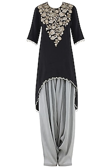 Black Embroidered High-Low Kurta Set by Payal Singhal