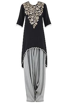Black Embroidered High-Low Kurta Set by Payal Singhal