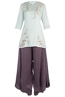 Mint Embroidered Kurta with Eggplant Cowl Pants Set by Payal Singhal