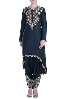 Navy Blue Embroidered Kurta with Low Crotch Pants by Payal Singhal