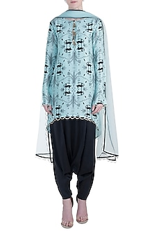 Blue High-Low Printed Kurta with Black Low Crotch Pants Set by Payal Singhal