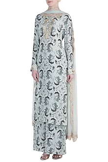 Mint Printed and Embroidered Kurta with Palazzo Pants Set by Payal Singhal