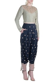 Mint Embroidered Crop Top with Navy Blue Low Crotch Pants by Payal Singhal