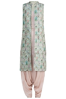 Olive Printed Jacket with Blush Camisole and Low Crotch Pants by Payal Singhal