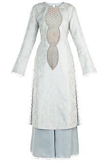Powder Blue Embroidered Kurta with Bustier, Pants and Dupatta by Payal Singhal