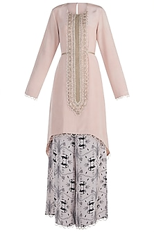 Blush Embroidered Kurta with Printed Palazzo Pants by Payal Singhal