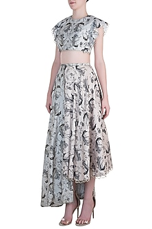 Stone Printed and Embroidered Crop Top with High-Low Lehenga Skirt by Payal Singhal