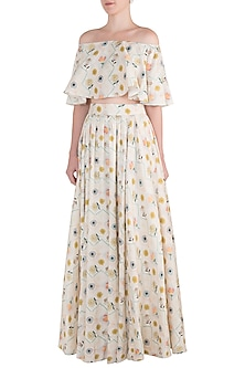 Off White and Green Printed Blouse with Lehenga Skirt by Payal Singhal