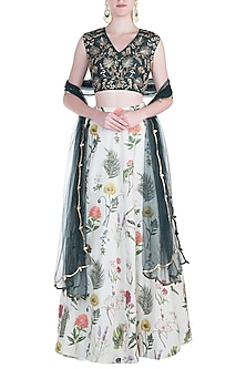 Emerald and Off White Floral Embroidered Lehenga Set by Payal Singhal