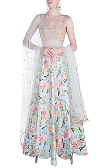 Blush Embroidered Blouse with Aqua Handpainted Lehenga Set by Payal Singhal